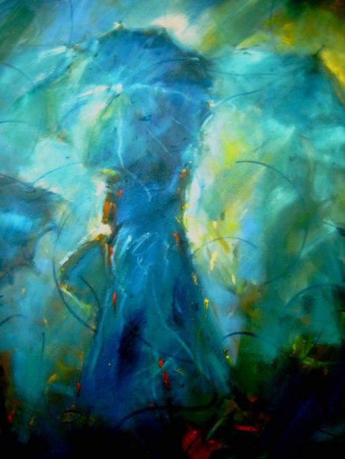 Mujer con Sombrilla I - Mestro Norberto Uribe - Oleo sobre tela