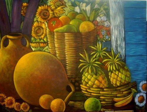 Bodegón Girasoles y Bambú - Daniel Arias - 40 x 50 - Oleo sobre tela
